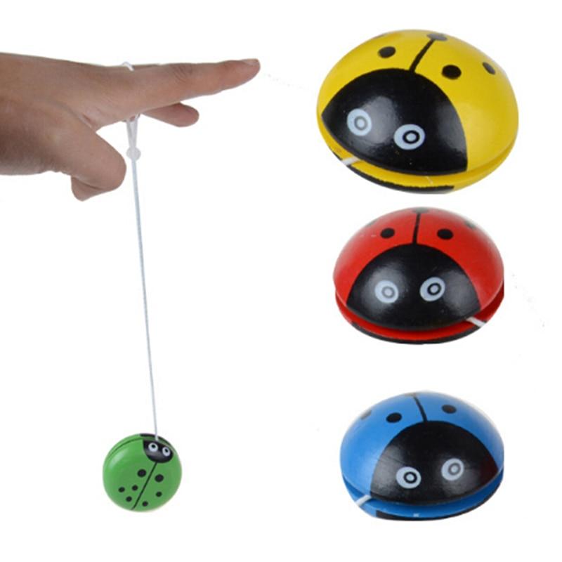 1 шт. 4 цвета Божья коровка шар креативные деревянные игрушки йойо для детей Развивающие развитие координации рук и глаз