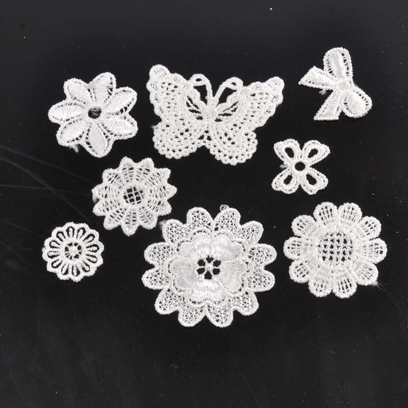 10-50 Uds. Aplique de encaje con patrón de flores mixtas para decoración de prendas de vestir tela de encaje guipur CP1501