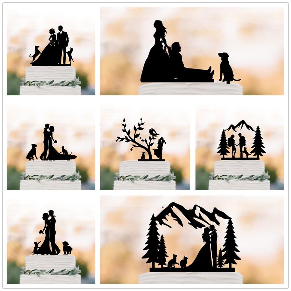 Novia y novio con mascotas torta de boda Topper parejas únicas con Animal fiesta decoración para tarta de boda accesorio para tarta de compromiso