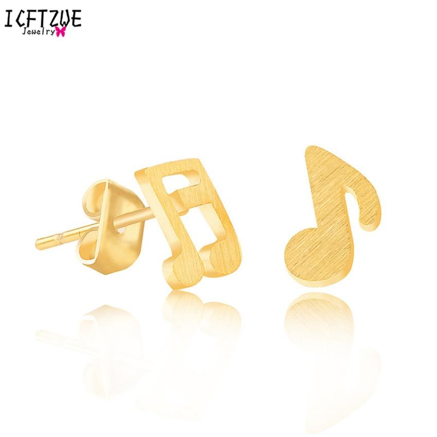 DIANSHANGKAITUOZHE Rhythm Music Note Símbolo de Plata Plateó La Joyería de Moda de Acero Inoxidable Poste de Oro Brincos Pendientes para La Muchacha