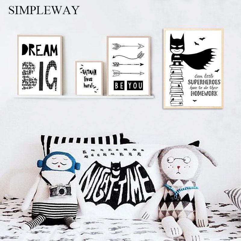 Dibujos animados de Batman poster para guardería citas pared Lona de arte pintura impresión minimalista cuadro decorativo nórdico bebé niños dormitorio Decoración