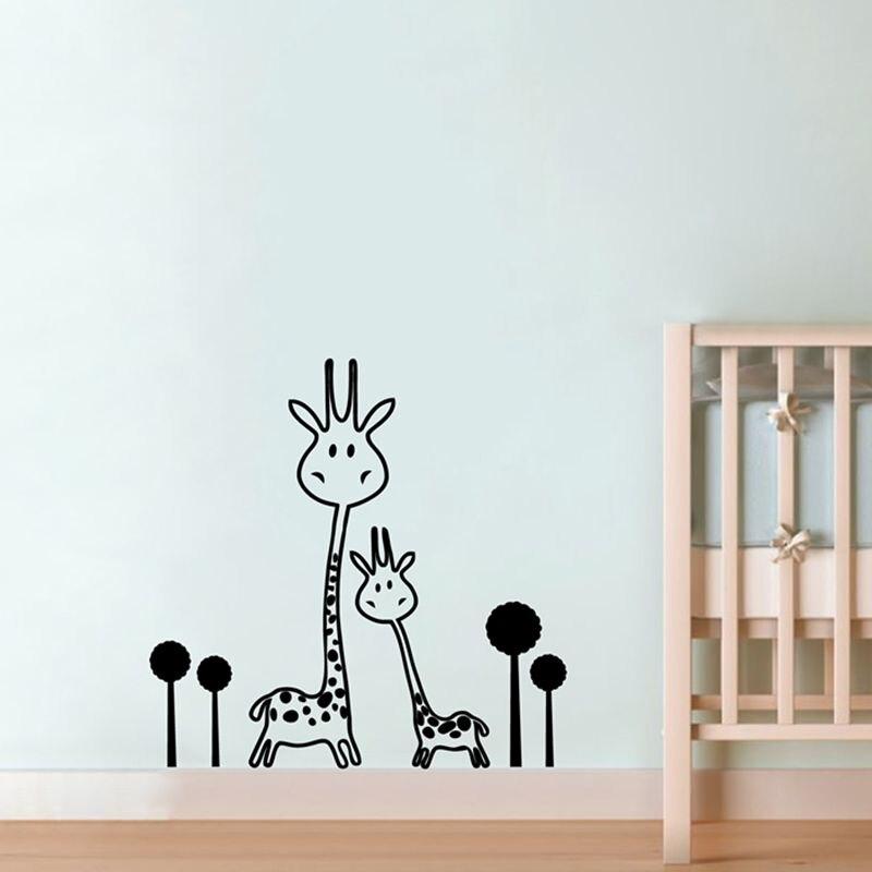 Autocollant mural mural en vinyle   Autocollant amovible girafe pour bébé-animaux-deux girafes murales, stickers muraux de transfert artistique