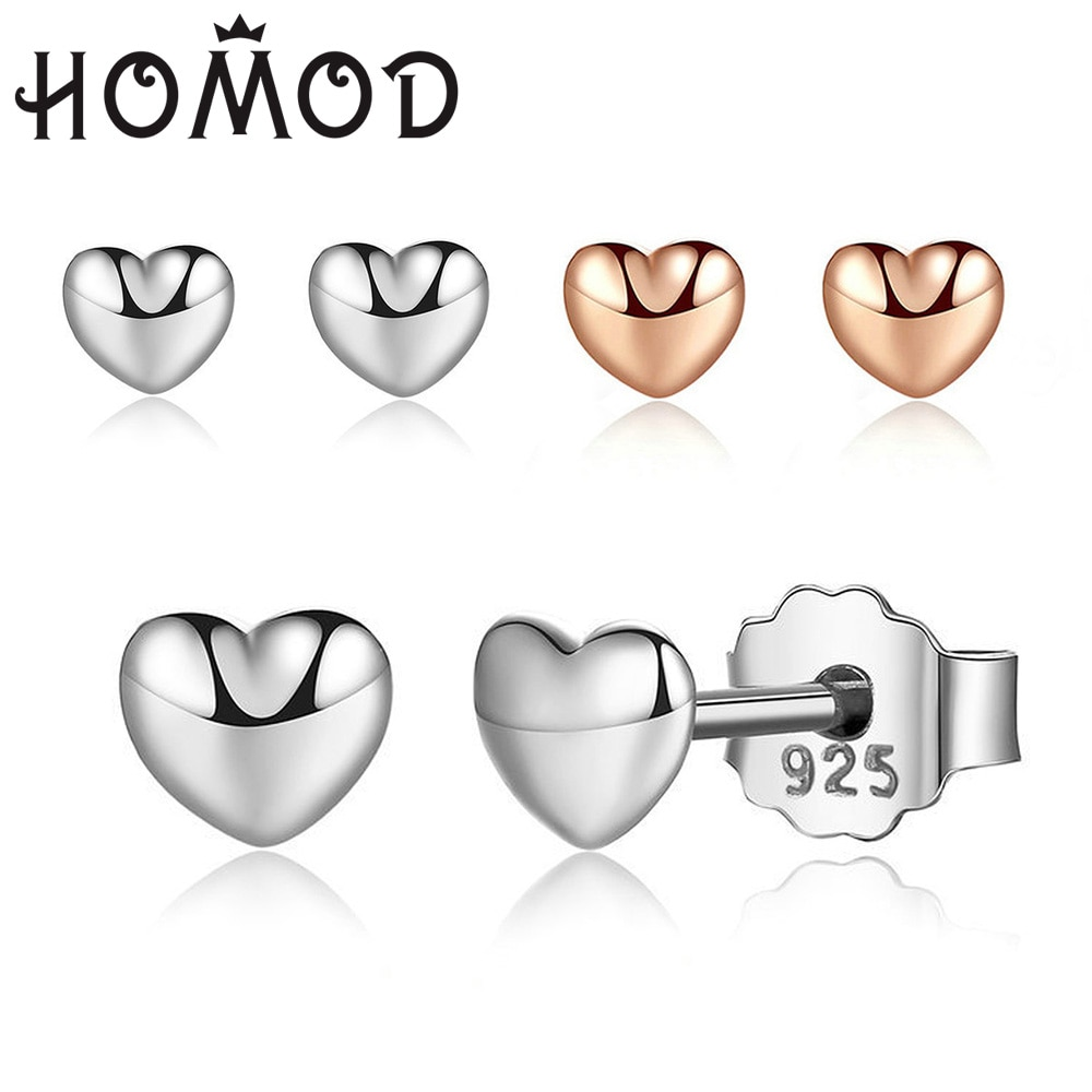 HOMOD Rose Gold & Silver Color Love Heart Womens Earrings Hot Sell Tiny for Women Fashion Brand Jewelry