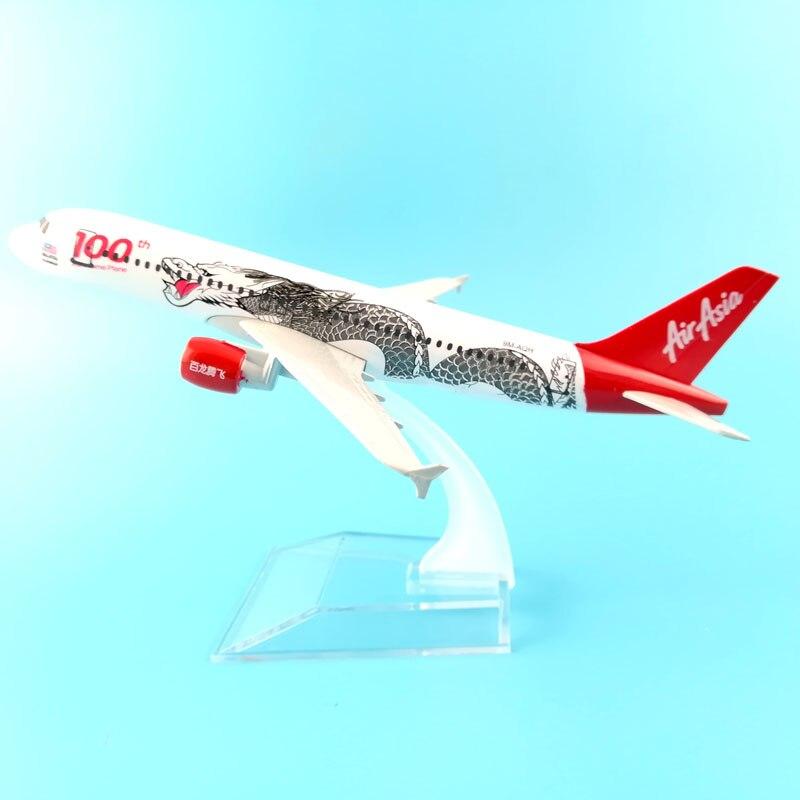 Модель Airbus 320 A320, 16 см, aalian Air Asia, 100th, Dragon Airline, сплав модель самолета, w, подставка, детские подарочные наборы