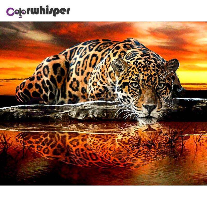 """Pintura diamante Praça Cheia/Rodada Pintura Daimond """"Animal do Leopardo Sombra Cenário"""" Mosaico Strass Bordado Decoração Arte LE02180"""
