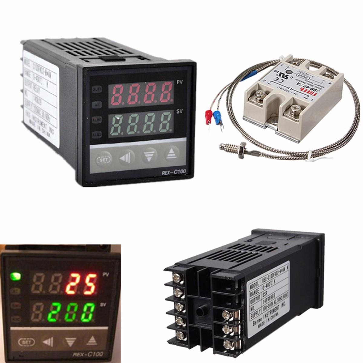 Controlador de temperatura Digital PID termostato REX-C100 + relé Max.40A SSR + Sonda de termopar K