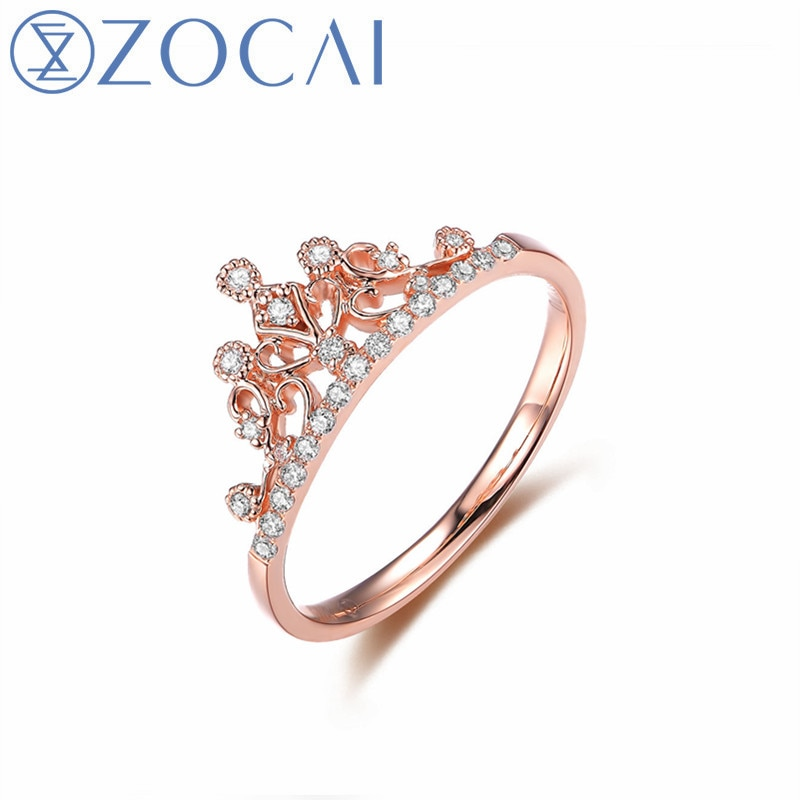 ZOCAI Forma de Corona Anillos de Compromiso de diamante Natural Real con oro rosa Real de 18K (Au750) W06197 W06261 W06118 W06198