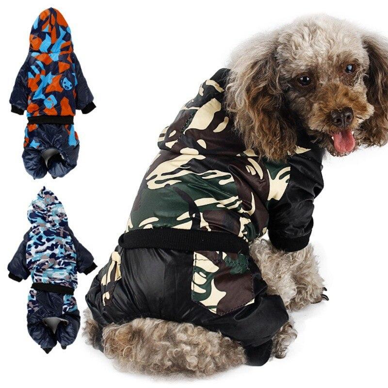 Wodoodporna tkanina Pet Dog odzież pogrubienie Winter Warm kamuflaż ubranko dla psa kurtka odzież dla małych i dużych psów Chihuahua nowość