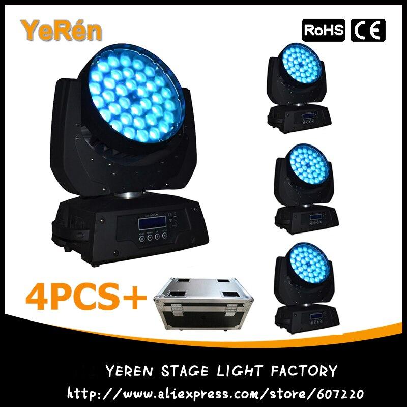 (4 unids/lote) estuche de luz LED con cabezal móvil Zoom efecto de lavado luz con 36 Uds 10W RGBW Led de cuatro colores Pro DJ Luz