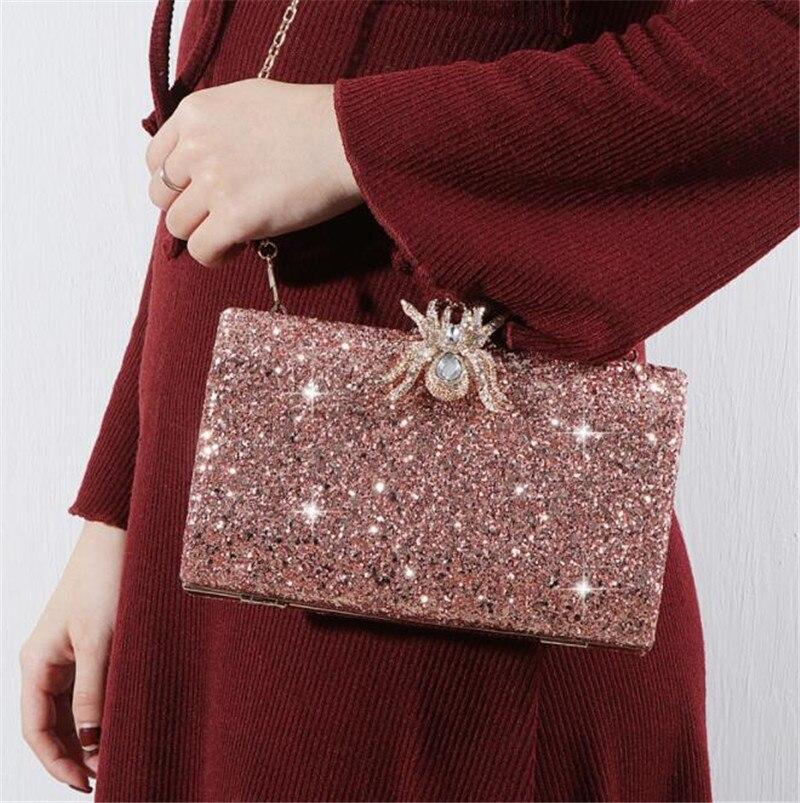 Розовые блестящие вечерние сумки с цепочкой MN1323, 2020