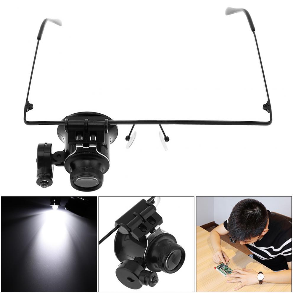 20X gafas ajustables tipo lupa de lente simple con luz LED para identificación antigua/reparación electrónica/reloj