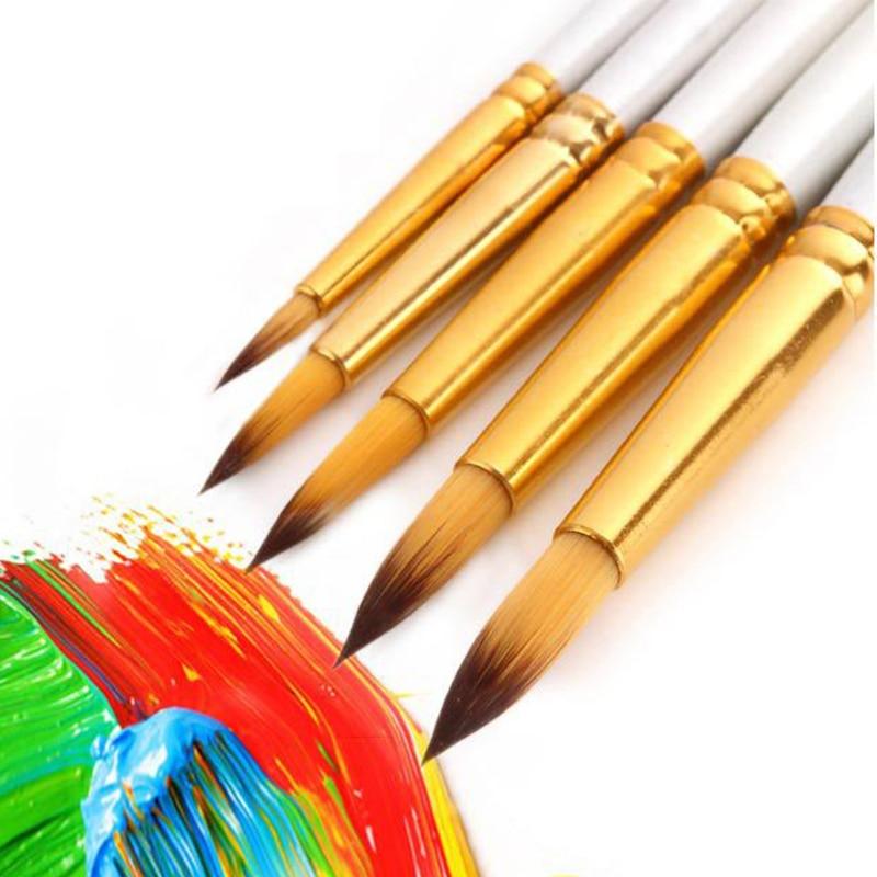 5pcs/pack Nylon Watercolor Gouache Acrylic Painting Brush Golden Tube White Rod Pointed Flat Head Paint Brush Pen Art Supplies