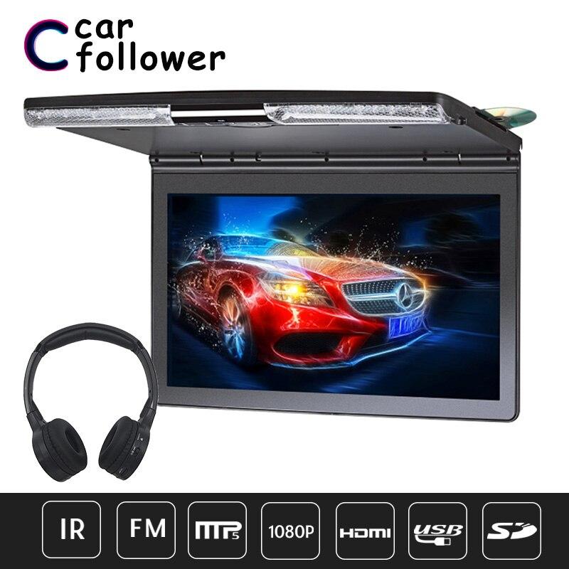 Reproductor de DVD con Monitor abatible 17,3 MP5 de 1920x1080 pulgadas con transmisor IR FM HDMI USB Juegos de altavoz SD monitor de coche