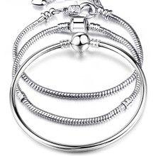 Haute qualité 17-21cm argent plaqué serpent chaîne lien Bracelet ajustement européen Bracelet à breloques pour les femmes bijoux à bricoler soi-même faisant