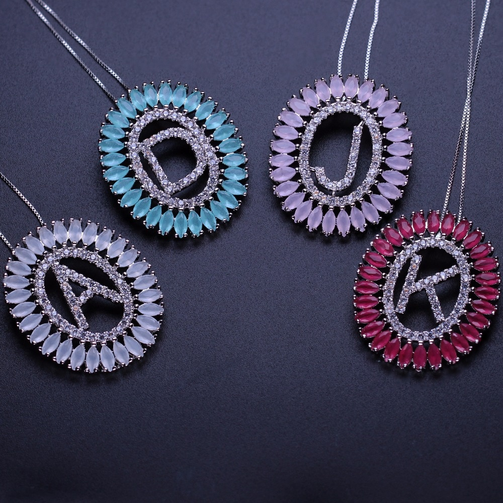 Newranos collar con inicial personalizada carta collar, joyería de nombre para las mujeres de circón cúbico collar de regalo para novia