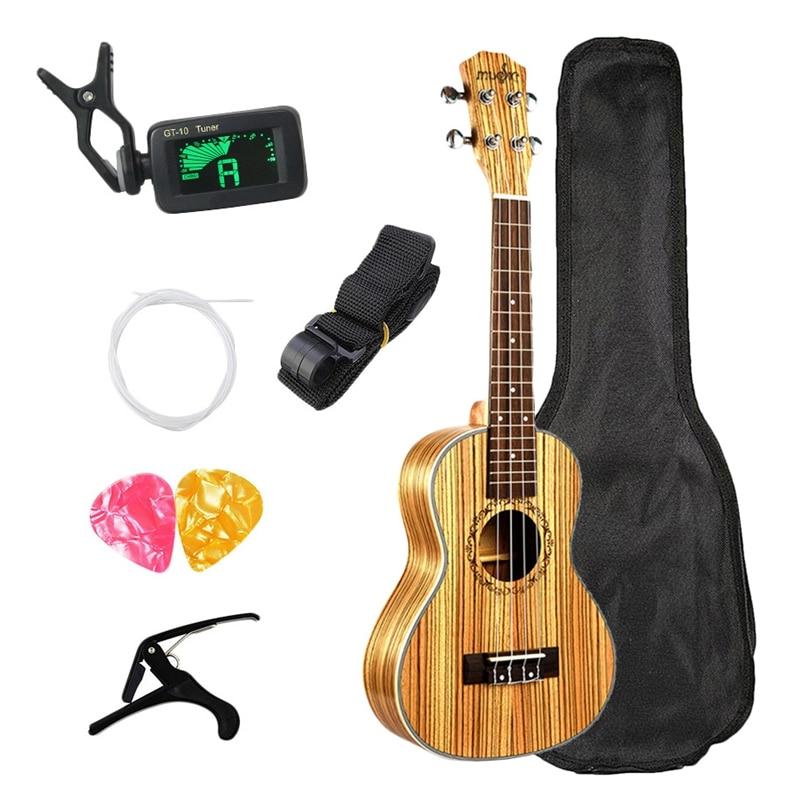 Concert Ukulele 23 Inch Hawaiian Zebrawood Beginner Uke 4 Strings Acoustic Guitar Ukulele Guitar With Bag Send Gifts Musical S