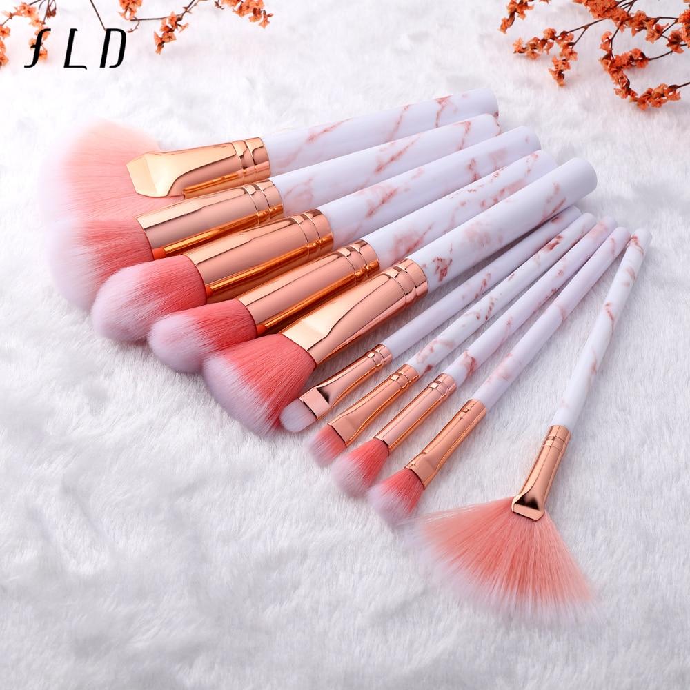 FLD 10 Pcs Professional Makeup Brushes Set Full Function Foundation Eye Powder Fan Blush Brush Makeup Tools Brushes Set Kit недорого