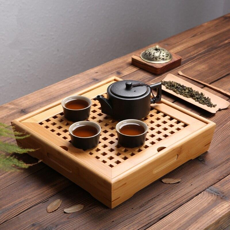 صينية شاي من الخيزران الطبيعي ، طاولة حفل شاي الكونغ فو الصيني ، أطقم إبريق شاي مصنوعة يدويًا ، صينية مصنوعة يدويًا للبيئة