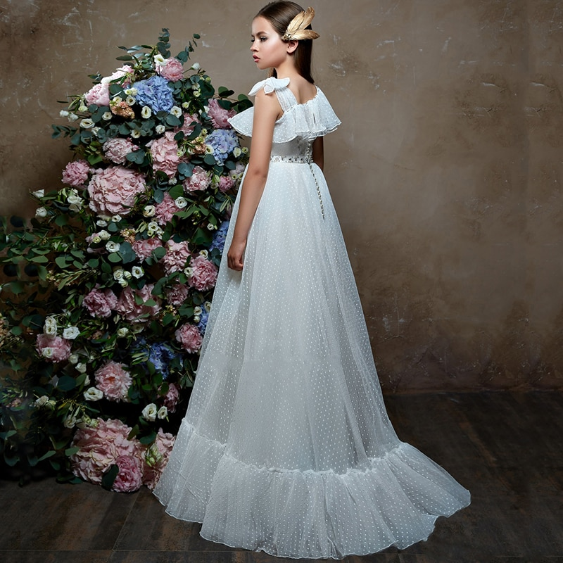 New Arrivals Elegant Girls Tulle Sleeveless One Shoulder A-line Flower Girl Dresses Princess Party Wedding Gowns with Beading enlarge
