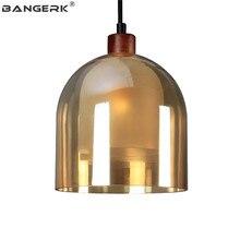BANGERK Creative Glass Wood Hanging Light Loft Style Modern LED Pendant Lamp Home Decor Indoor Lighting Fixtures Hanglamp