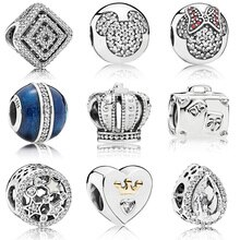 Perles couleur argent coeur étoile couronne souris cristal glaçure perle pour 925 Original Pandora Bracelets porte-bonheur & Bracelets bijoux