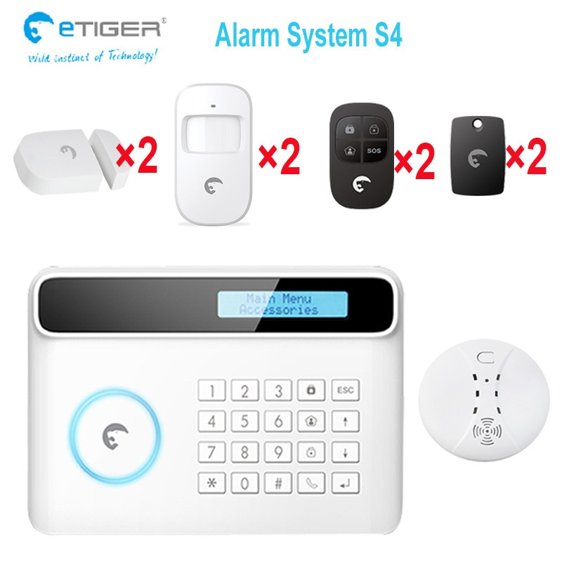 e-tiger S4 standard kit + smoke sensor anti-thief anti-fire alarm FIRD tag APP control home sucurity alarm system