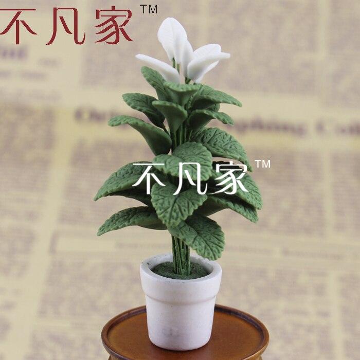 ¡Envío gratis! miniplanta verde elegante a escala 1/12 con flores en miniatura bien hecha para casa de muñecas