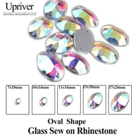 upriver oval crystal ab color flatback sew on rhinestones 2 holes crystal sewing stone for garments casual dresses