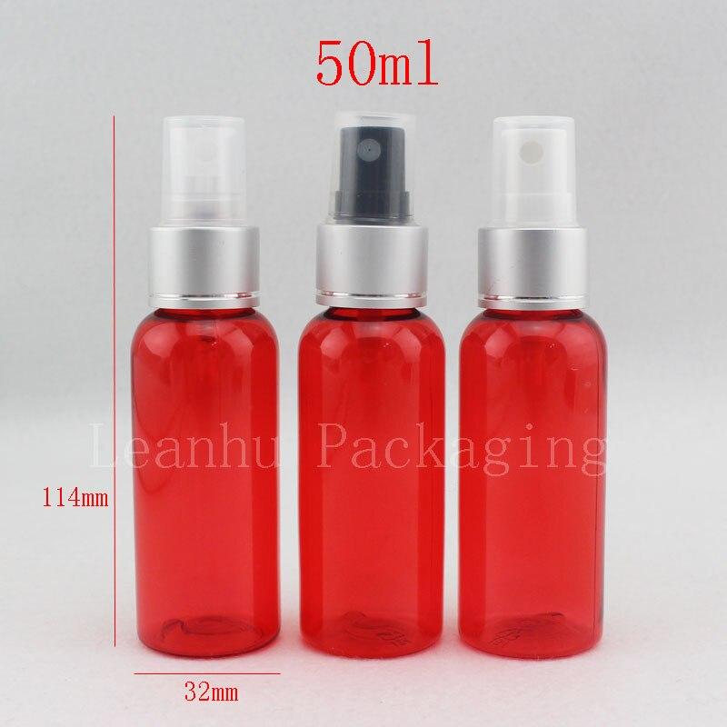 50 шт./лот 50 мл бутылка-спрей красная бутылка-насос ПЭТ бутылка-насос для цветочной воды многоразовая бутылка для женщин личная гигиена