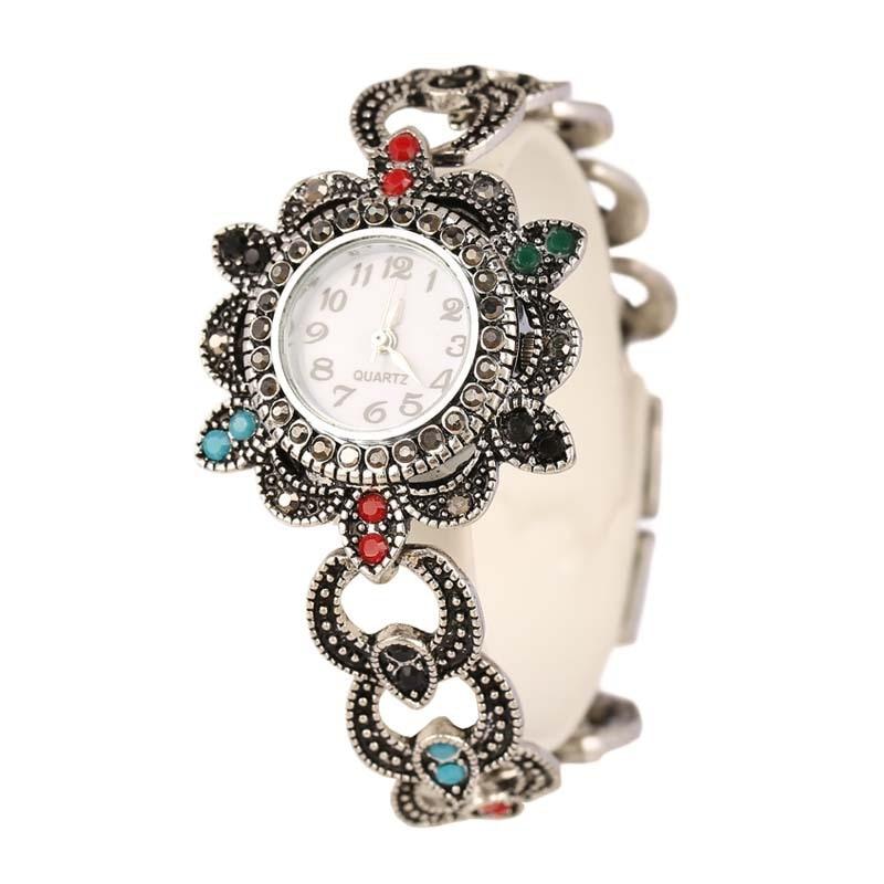 Moda gran marca de lujo Estilo Vintage bohemio Color plata Tíbet + AAA resina cristal mujer reloj