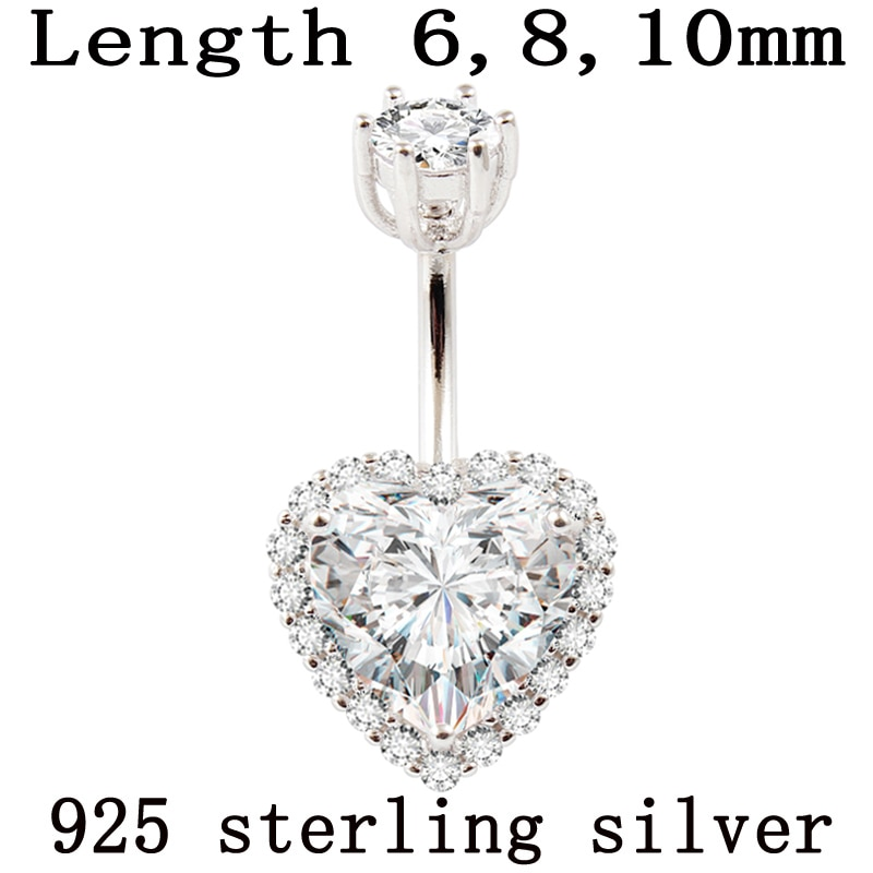 Real 925 sterling silver belly button ring women fine jewelry heart body piercing jewelry S925 6 8 10 mm navel bar zircon stones