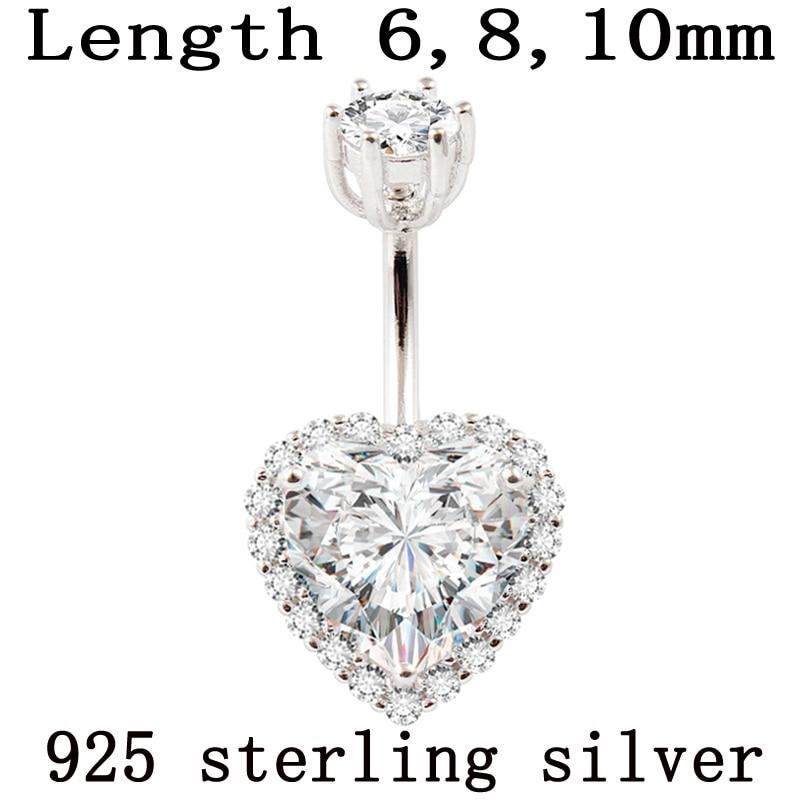 Real 925 sterling silver belly button ring women fine jewelry heart body piercing jewelry S925 6 8 10 mm navel bar zircon stones