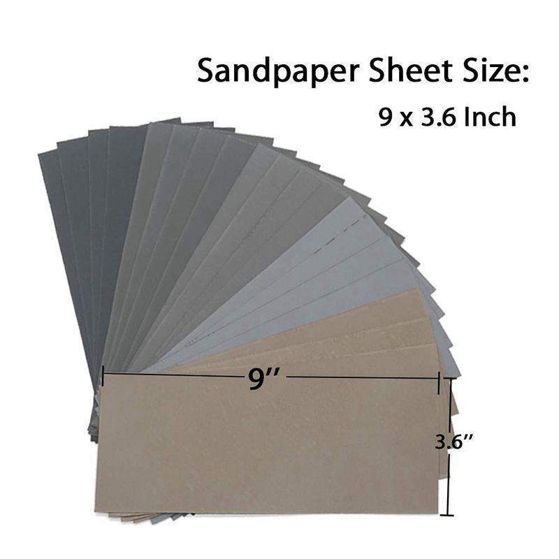 Carta vetrata a secco da 20 pezzi, assortimento di fogli di carta - Utensili abrasivi - Fotografia 3