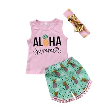 2018 Summer Toddler Kids Girls Aloha Vest Tops+Pineapple Print Tassel Shorts Hot Pant Headband 3PCS Outfits Clothing Set 1-6Y