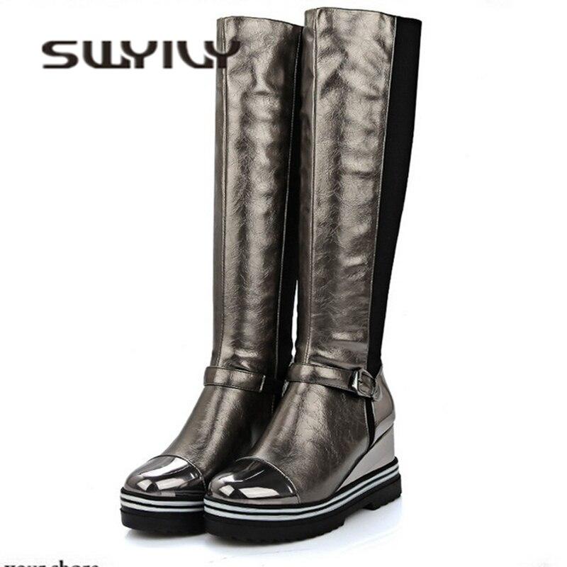SWYIVY hasta la rodilla botas largas de mujer cuña 2018 otoño invierno cálido mujer moda Zapatos 34-43 terciopelo caliente señoras botas para nieve sexy