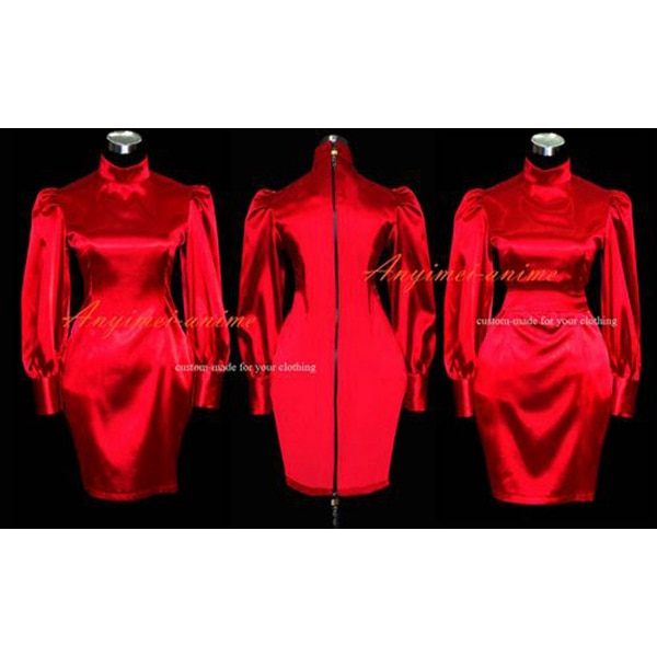 Gothic Lolita satén rojo Sissy dama vestido de uniforme con cerradura Cosplay traje hecho a medida [G465]