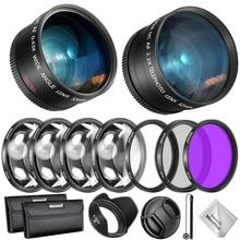 Kit daccessoires pour objectif et filtre Neewer 52/55/58mm pour Nikon AF-P DX 18-55mm objectif grand Angle 0.43X, téléobjectifs 2.2 x, UV/CPL/FLD