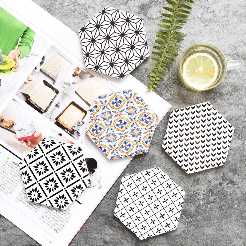 DUNXDECO, Mantel Individual para mesa, taza de café, posavasos, posavasos hexagonales de cerámica, posavasos, posavasos europeo, Blanco, Negro, arte geométrico, decoración de escritorio