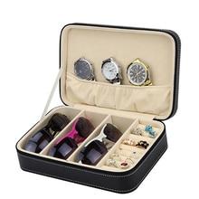 링 귀걸이 유리 홀더 디스플레이 케이스에 대 한 지퍼가 달린 주최자와 다기능 보석 저장 상자