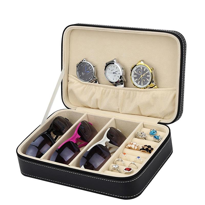 Caja de almacenamiento Multi-joyería funcional con organizador con cremallera para anillo pendiente vidrio titular estuche de exposición