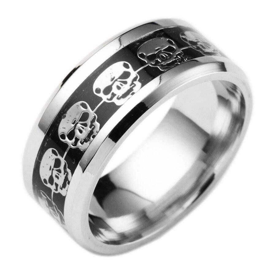 Wholesale Skull Biker Ring Stainless Steel Jewelry Classic Punk Black Gold Motor Biker Skull Ring Men Women Never Fade