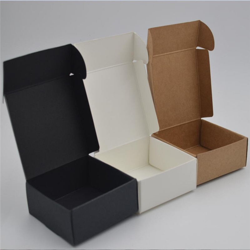 10 unids/lote pequeña caja de papel Kraft marrón caja de jabón hecha a mano caja de regalo de papel blanco caja de embalaje negro caja de joyería cartón caja de cartón