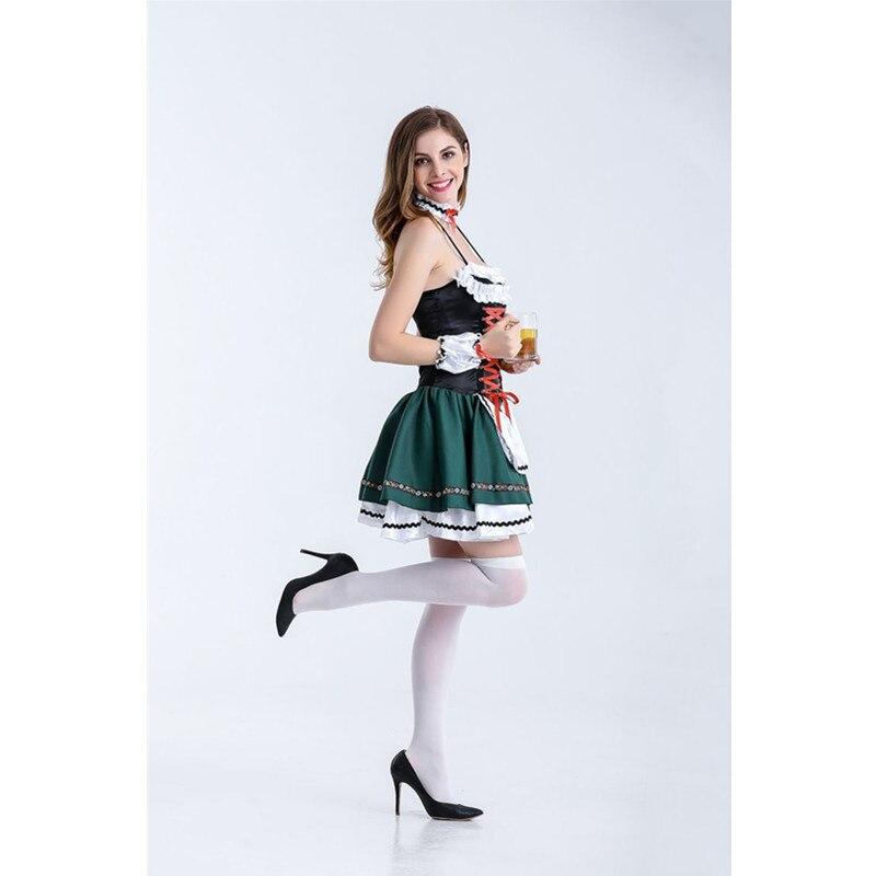 Quente sexy verde cerveja traje menina wench maiden traje alemão oktoberfest fantasia vestido