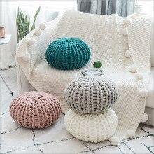 Colorido mão-malha almofada redonda decorar sua casa pode ser como puff piso otomano