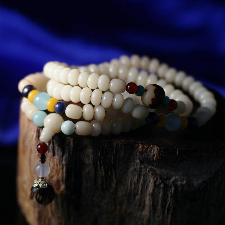 Mala tibetano perlas de bodhi 108 cuentas de oración Mala cuentas de rezo budista Mala Río Piedra lapislázuli