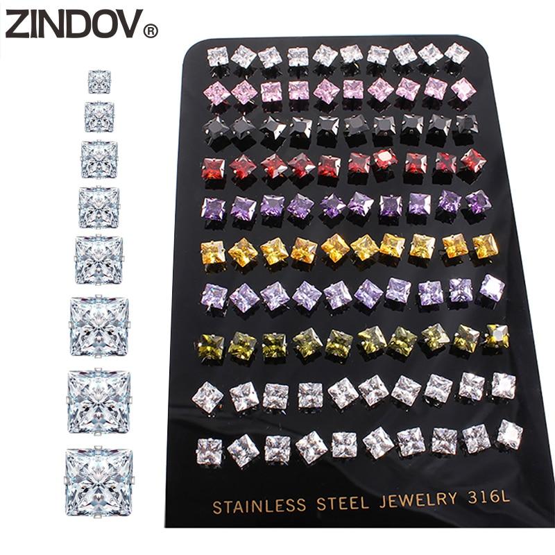ZINDOV 10 paare/los Zirkonia Ohrringe Für Frauen Männlichen Edelstahl Quadratischen Bunten CZ Stud Ohrringe Herren Weiblichen Schmuck