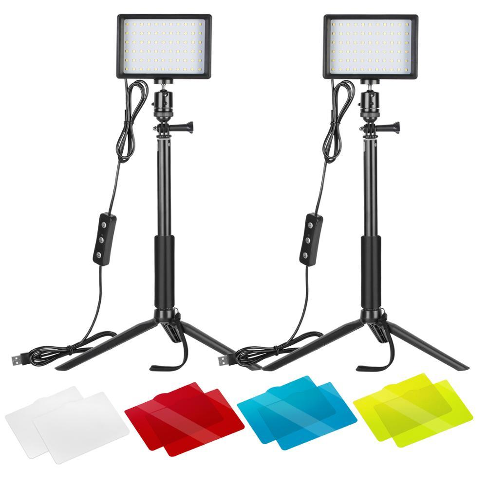 Neewer-مصباح فيديو LED USB 5600K ، 2 عبوات إضاءة قابلة للتعديل ، مع حامل ثلاثي القوائم قابل للتعديل/مرشحات ملونة لسطح الطاولة/زاوية منخفضة