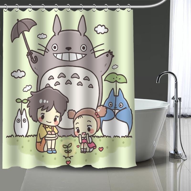Cortina de ducha Tonari no estampado de Totoro personalizada, cortina de baño impermeable de poliéster lavable para el hogar, cortinas de decoración para el baño con ganchos