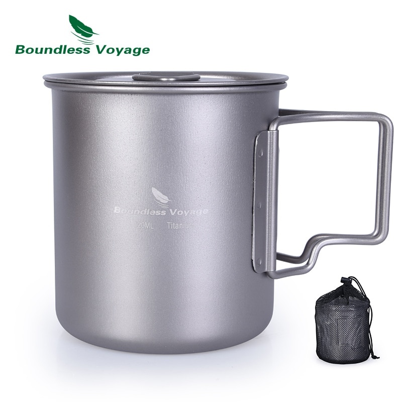 Taza de titanio de viaje sin límites de 420ml con tapa de taza de Camping taza de té de agua al aire libre