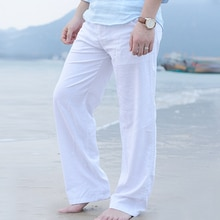 New High Quality Men's Summer Casual Pants Natural Cotton Linen Trousers White Linen Elastic Waist Straight Man's Pants
